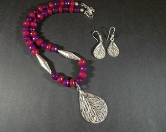 Silver Filigree Pendant Necklace And Earring with Pink And Purple Jade beads.
