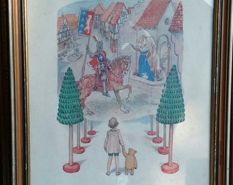 "Winnie the Pooh Christopher Robin Framed Print ""Knights and Ladies"" 1958 Mid Century Home Decor."