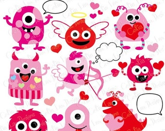 Valentine Monsters Clipart,  Love Monsters Clip Art  (CG123 ) / INSTANT DOWNLOAD