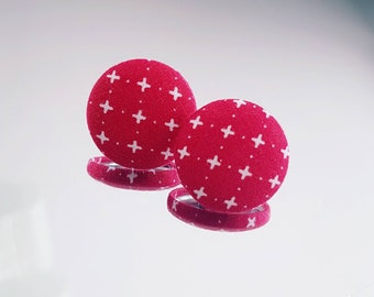 LARGE chips Jumbos, earrings, studs, fabric button, 23mm, red, cross, x, white, retro