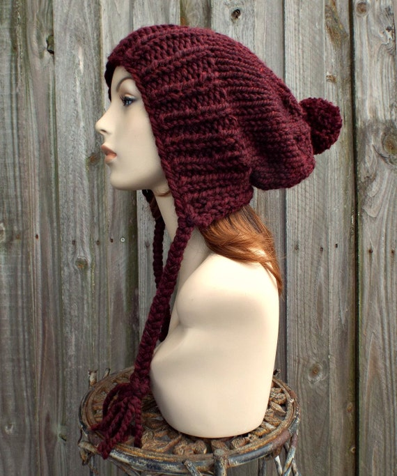 Red Oxblood Wine Womens Knit Hat Slouchy Ear Flap Beanie with Pom Pom - Charlotte