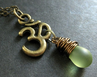 Ohm Necklace. Yoga Jewelry. Teardrop Necklace in Bronze. Yoga Necklace. Clouded Green Necklace. Handmade Jewelry.