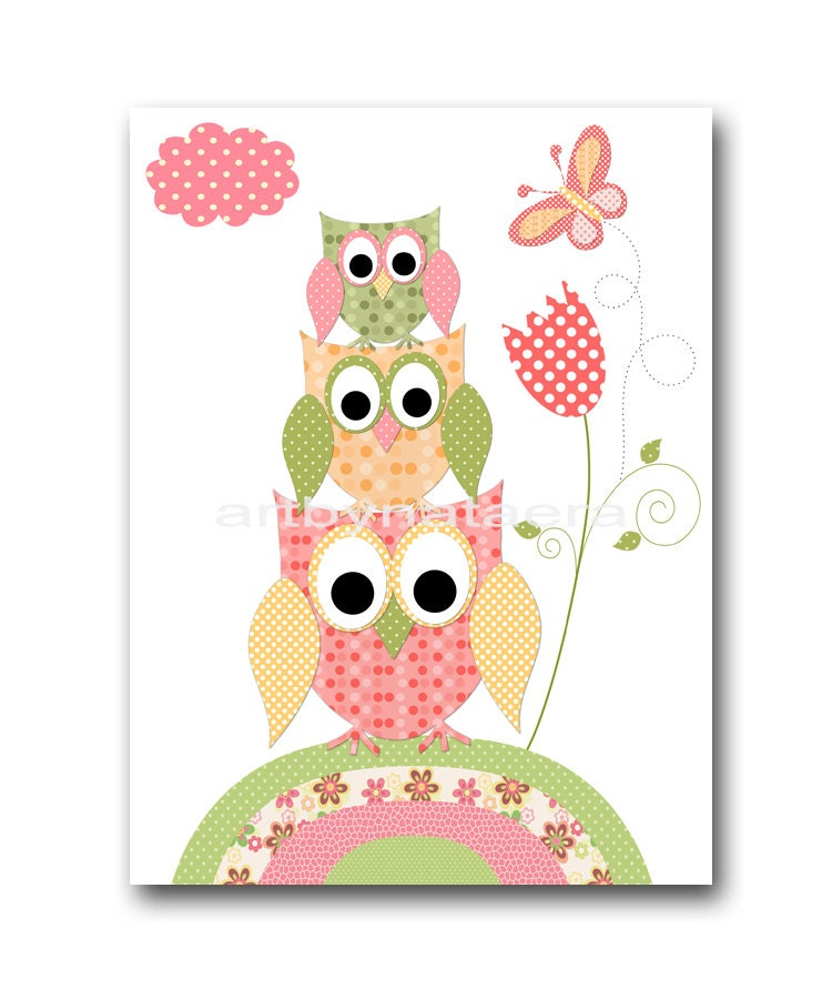 baby wall art baby girl room decor owls baby girl nursery. Black Bedroom Furniture Sets. Home Design Ideas