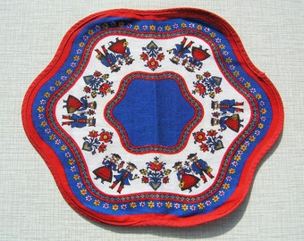 Vintage Oval Doily Red Blue White, Traditional Bulgarian Cotton Dollie with People, Flowers Hearts, Vintage Doily Bulgaria, Table Decoration