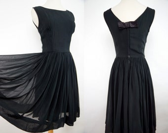Silk Chiffon Dress 1960s Black Fit and Flare Party Wide Skirt Sleeveless Pintucking Small