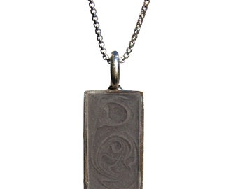 Rectangular Cremation Pendant, 21 x 10mm - Sterling Silver Pet Ashes Jewelry