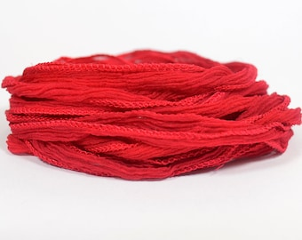 Christmas Red Hand Dyed Silk Ribbons - Fairy Ribbon Style - S8