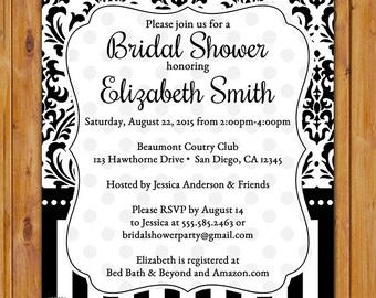 Elegant Black and White Bridal Shower Invite Damask and Stripes Printable Invitation  Black & White Trendy Printable Invite (PI-72)