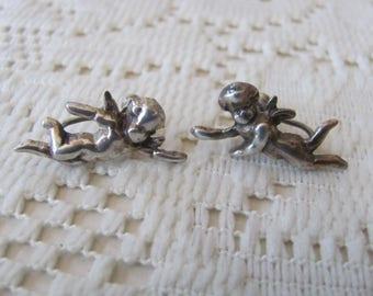 Sterling Cherub Earrings, Vintage Screw Backs, Angel Earrings, Cherub Jewelry