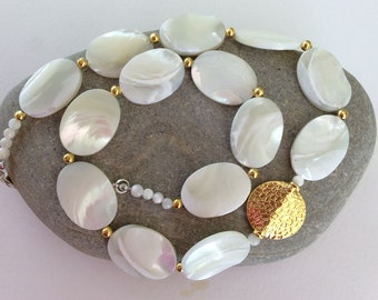 Mother of Pearl Shell and Gold Statement Necklace