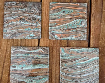 Acrylic Pour Ceramic Coasters, Ceramic Coasters and Holder, Set of 4 Coasters, Gift