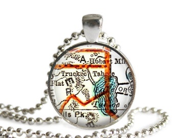 Lake Tahoe, California map necklace pendant charms, Lake Tahoe map jewelry charm pendants, california jewelry, gift idea, A109