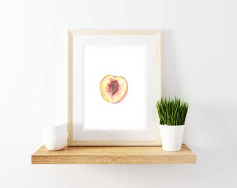 Peach Watercolor Print. Kitchen Decor. Peach Print