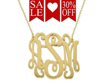 """Monogram necklace - personalize gold monogram necklace 1"""" gold plated 18k on .925 silver Mothers day gift Bridesmaid necklace"""