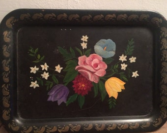 VIntage Hand Painted Metal Serving Tray