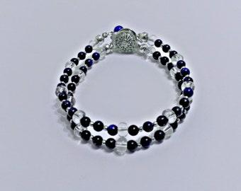 Lapis lazuli bracelet, dark blue bracelet, thiny bracelet, navy blue bracelet, beaded bracelet, blue stone bracelet