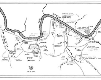 Pen and ink map of Wendell Berry's Port William, Kentucky