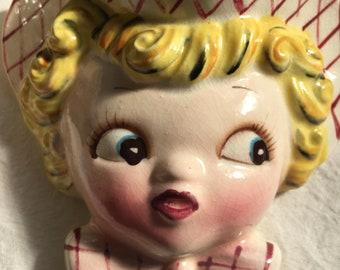 lefton dainty miss wall pocket figurine vintage kitchen collectible 1950s decoration