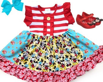 Minnie & Mickey dress Disney vacation girls  toddler Mickey mouse Disney dress Minnie mouse birthday party summer