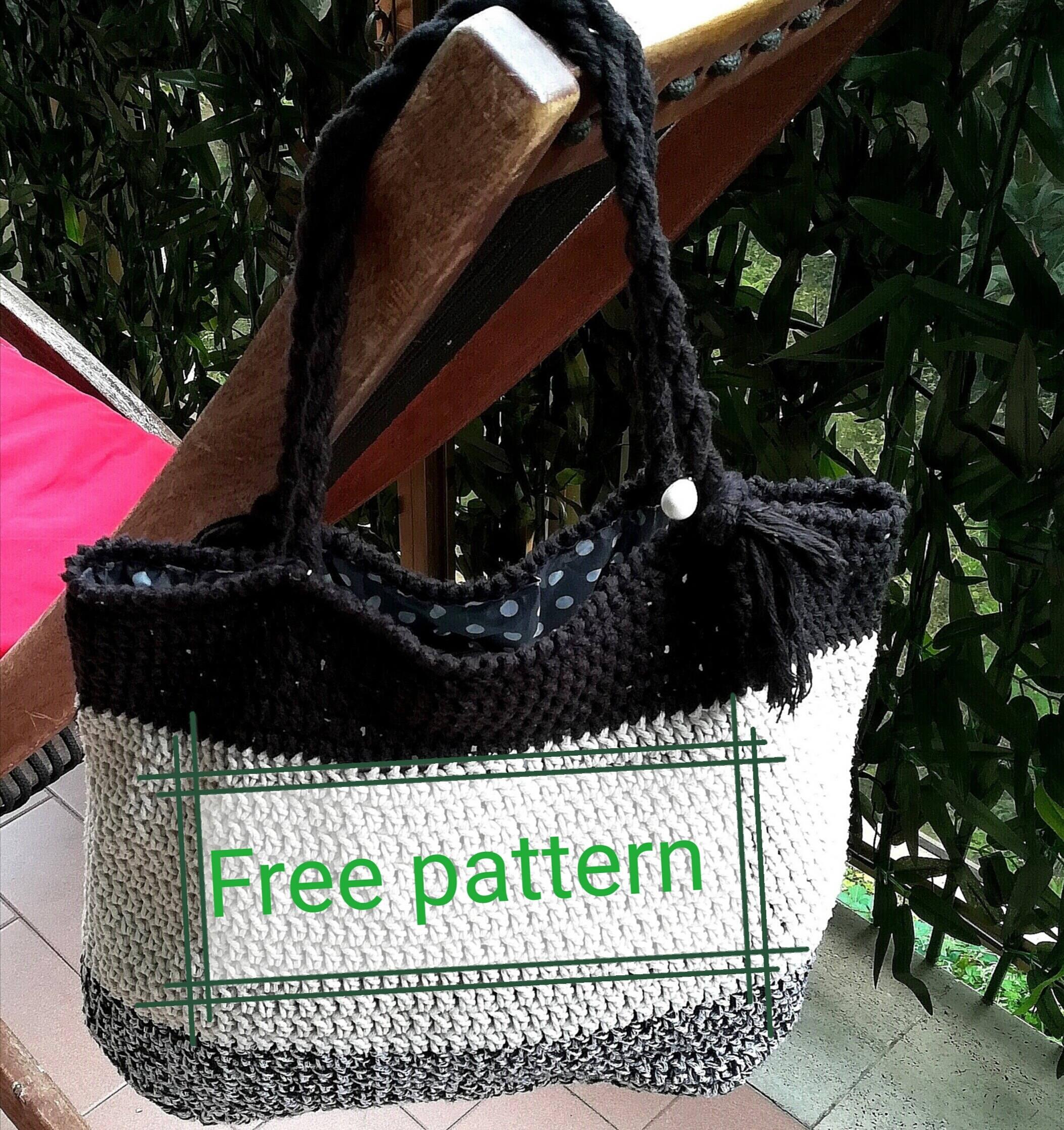 BAG PATTERN for FREE, twine tote bag, crochet bag, striped tote bag ...