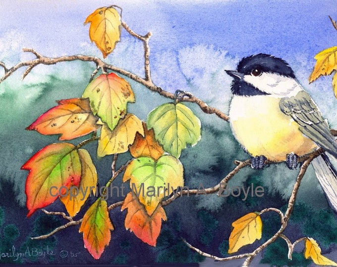 PRINT-CHICKADEE and AUTUMN Leaves; fall season, wall art, 8 x 10 inch on laser paper, sharp and colorful,