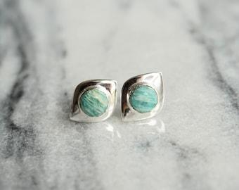 Sterling Silver 925 Amazonite gemstone stud earring