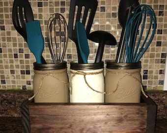 Rustic looking mason jars Utensil holders with box