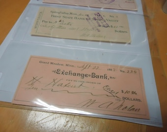 Vintage 1888 Exchange Bank Cashed check in plastic , Grand Meadow, Minn, collectable, paper.