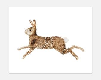 Rabbit Watercolor Painting Print, Nursery Wall Art, Woodland nursery, Wall Art, Woodland animals, Decorative Wall Art, Home and Decor