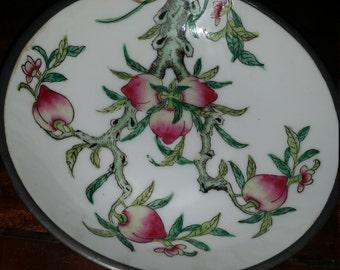 Vintage Japaenese Porcelain and Pewter Bowl