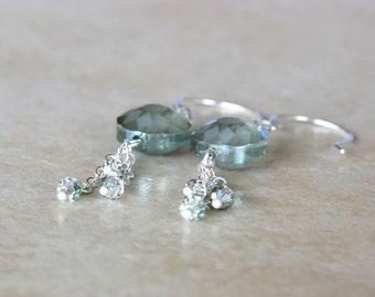 Moss Green Flower Dangle Earrings