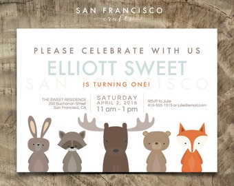 Woodland Birthday Invitation | Woodland Animals Invite | Moose, Fox, Bear Party  - Printable PDF