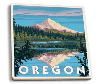 Mount Hood from Lost Lake, Oregon - LP Artwork (Set of 4 Ceramic Coasters)