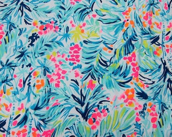 TIPPY TOP Serene Blue 2017 18x18 or 18x9 inches Lilly Fabric Pulitzer Having