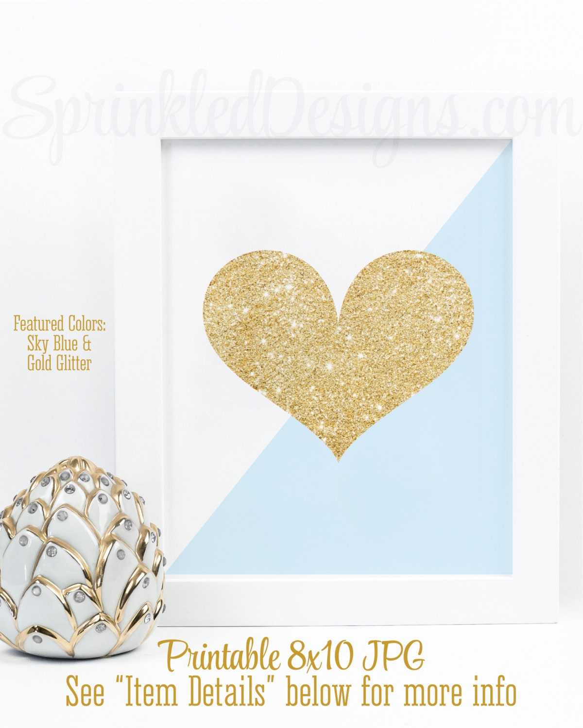 Heart Sign Baby Boy Shower Decorations Baby Blue Gold