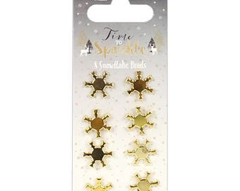 Gold Snowflake Brads - Christmas - Pack of 8 - Dovecraft Time To Sparkle - Scrapbook