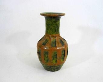 Vintage Studio Pottery Vase Glazed in Green and Brown.