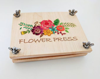 Flower press kit - Floral pyrography - wooden flower press - handpainted flower press - spring gift - homeschooling - botanical press