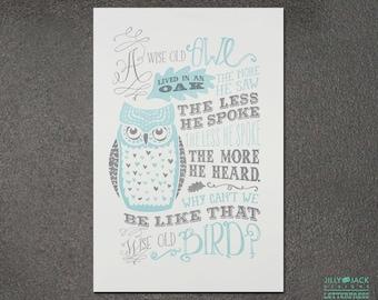 Nursery Wall Art, Wall decor, Owl print, Wall art, Wise Old Owl Letterpress Art Print, JJD_LP_WOP