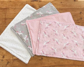 Small Unicorn Burp Cloths, Baby Burp Cloth,  Burp Cloths, Burp Cloths Bundle, New Baby Gift, Baby Shower Gift