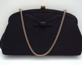 Vintage Black Clutch, Black Evening Bag, Black Bow Clutch, Black Fabric Clutch,  Black Formal Purse, Black Formal Bag, Fabric Evening Bag