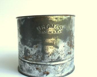 Flour Sifter, Metal Kitchen Decor, Vintage Metal Bromco Flour Sifter, Vintage kitchenware, Kitchen Decor