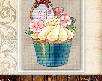 Kawaii cupcake cross stitch pattern food cross stitch kitchen cross stitch dessert cross stitch cake cross stitch chart baking sodastitch