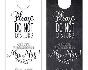 Wedding Door Hanger /Printable, Printed, Do not disturb sign, Destination Wedding, Welcome Bags, Chalkboard hotel door hanger wedding favors