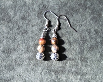Handmade Picture Jasper / Silver Drop Dangle Earrings
