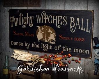 Primitive, Folk Art ,Halloween, Twilight Witches Ball wood sign