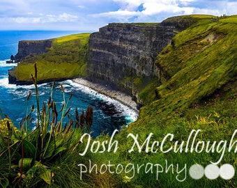 Cliffs of Moher, Green Hills, Irish Decor, Fine Art Photo Print, Wall Art