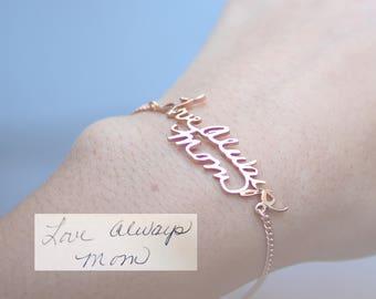 Custom Handwriting Jewelry • Actual Handwriting Bracelet • Signature Bangle • Memorial Personalized Keepsake Gift • Mother's Gift • BH01
