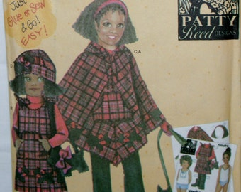 Simplicity 4898 Girls Poncho, Jumper, Pants, Hats and Purse Sewing Pattern Uncut Size S-M-L-XL