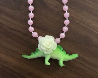 Glow in the dark dinosaur necklace